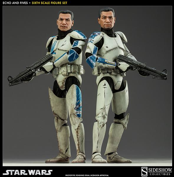 STAR WARS: CLONE TROOPERS ECHO and FIVES SET Sixth scale figure SIDESHOW_COLLECTIBLES_STAR_WARS_1-6_SCALE_CLONE_TOOPER_2-PACK_02