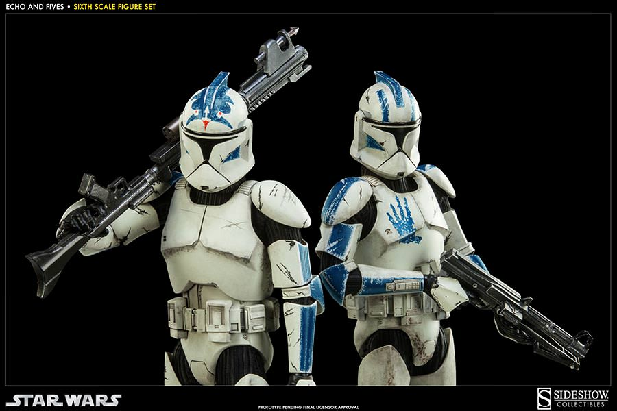 STAR WARS: CLONE TROOPERS ECHO and FIVES SET Sixth scale figure SIDESHOW_COLLECTIBLES_STAR_WARS_1-6_SCALE_CLONE_TOOPER_2-PACK_05
