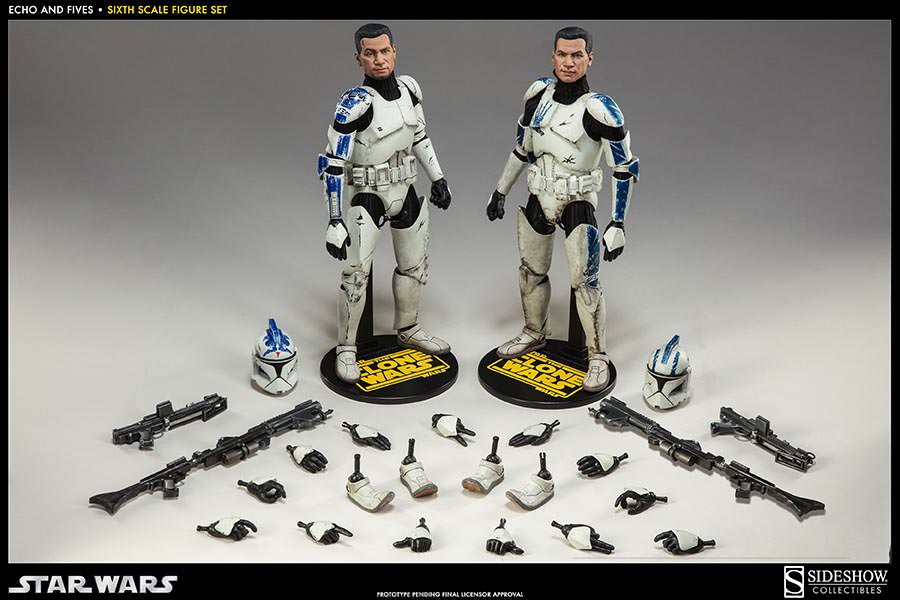 STAR WARS: CLONE TROOPERS ECHO and FIVES SET Sixth scale figure SIDESHOW_COLLECTIBLES_STAR_WARS_1-6_SCALE_CLONE_TOOPER_2-PACK_08