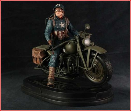 CAPTAIN AMERICA ULTIMATE WW II ON MOTORCYCLE STATUE GENTLE GIANT CAP_MOTO_A
