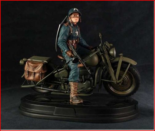 CAPTAIN AMERICA ULTIMATE WW II ON MOTORCYCLE STATUE GENTLE GIANT CAP_MOTO_E