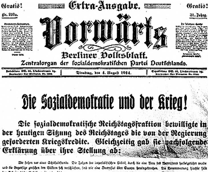 Alemania 1918-19. Revolución proletaria, reforma y contrarrevolución capitalistas (I) August-1914-cover-of-Vorwarts
