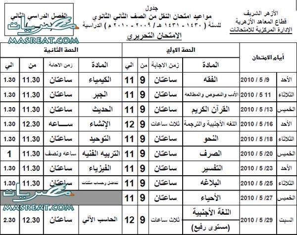جدول الصف الثانى الثانى الثانوى قسم علمى بمحافظة قنا 2011 2-sec-alazhar-3elmy