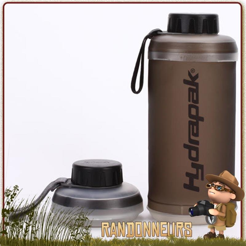 Une gourde compactable pour transporter jusqu'à 1 litre d'eau Gourde-Souple-STASH-Smoke-HYDRAPAK