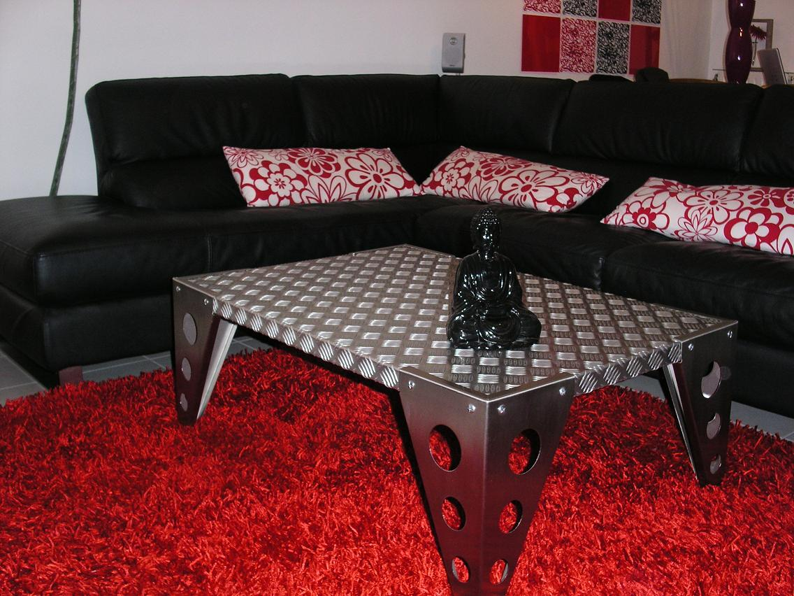 [Table basse] Inox brossé et aluminium ou teck Table1
