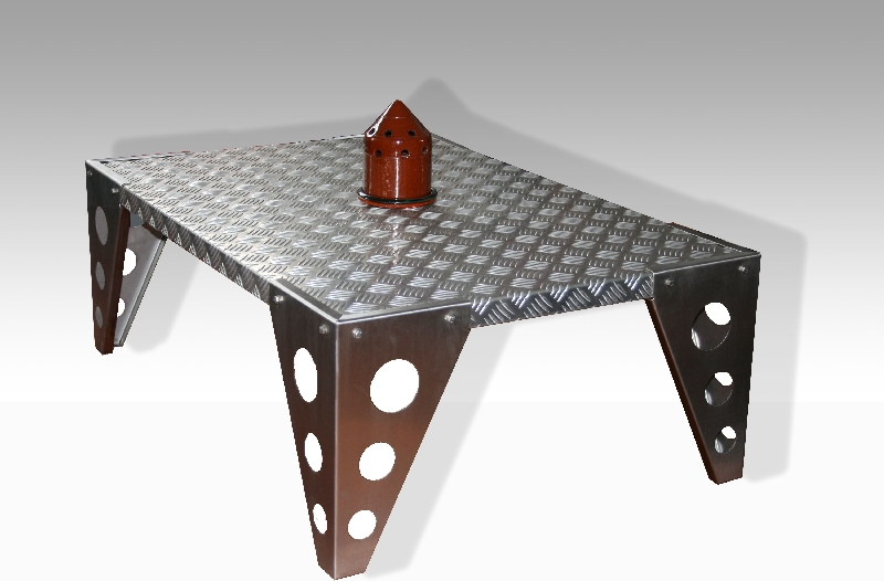 [Table basse] Inox brossé et aluminium ou teck Tableinoxalu