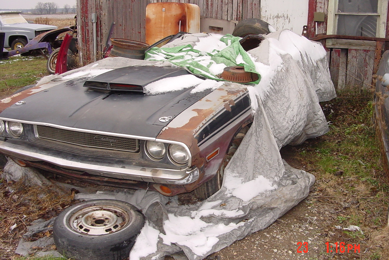 Cars in Barn. Charger%20at%20Body%20Shop%20024