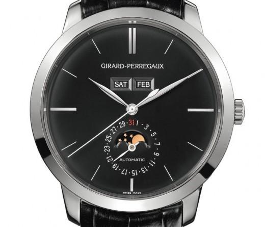 Quelle phase de lune? Avec cadran noir, 40mm max Montre-Girard-Perregaux-1966-Calendrier-Complet-en-or-gris-cadran-noir-520x445