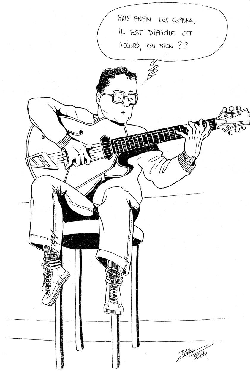 TECHNIQUES et MUSIQUES, IMPROVISATION pour GUITARE. 5 doigts main droite (6, 7 & 8 strings) Pierre-cullaz-caricature