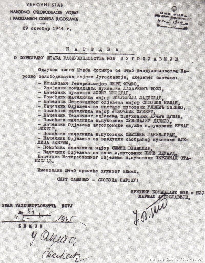 Stvaranje i razvoj vazduhoplovstva NOVJ (1942 - 1945) 18848_136591754_naredba%20o%20formiranju%20staba