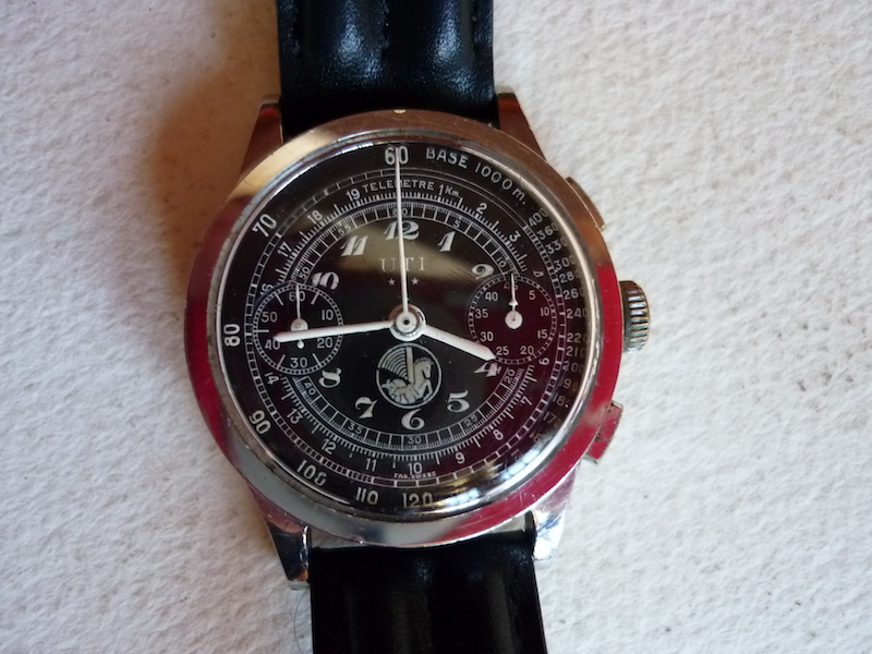 ancienne montre chronographe UTI made in Suisse air France logo crevette Airfrance1