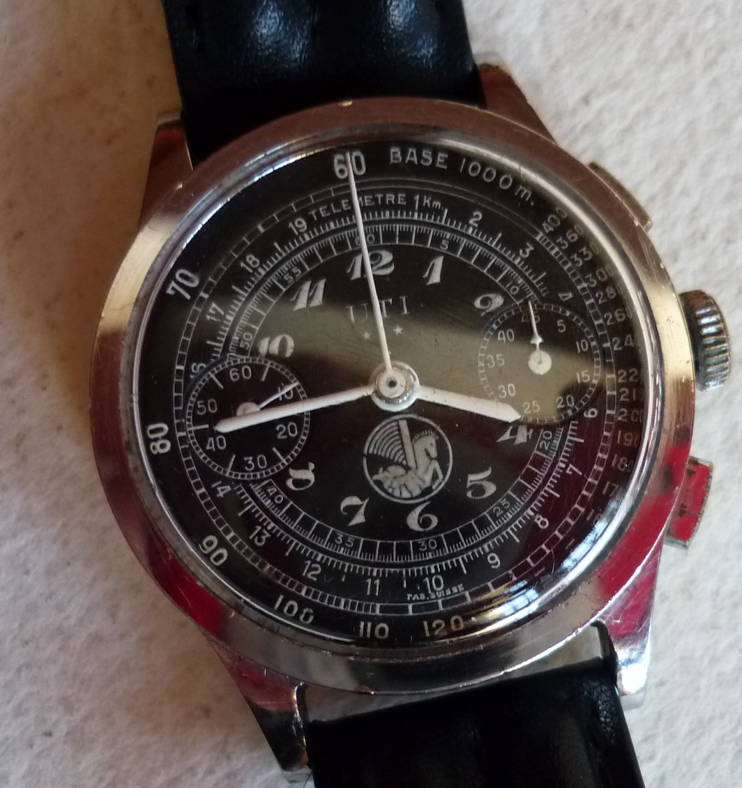 ancienne montre chronographe UTI made in Suisse air France logo crevette Airfrance2