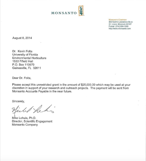 Genetically Modified Organisms (GMO) Monsanto-Letter-Kevin-Folta-Unrestricted-Grant-2014-08-08