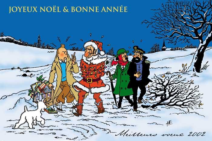 """Le Noël de Tintin, en un temps où la ferveur religieuse était plus importante que la ferveur """"acheteuse"""". 2002"""
