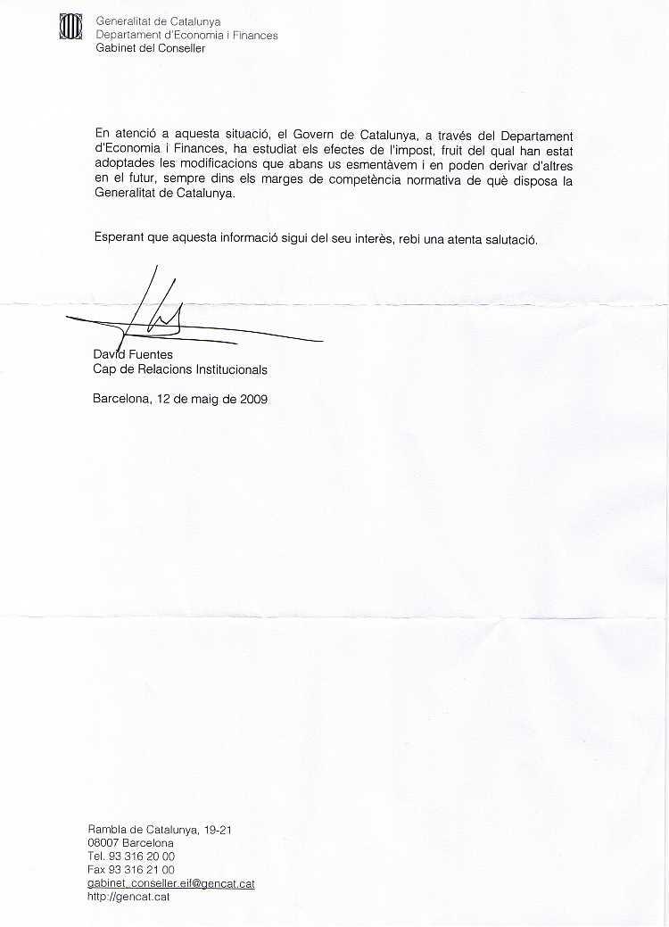 14/05/2009 - Rebuda carta del Departament d'Economia i Finances com a continuació de la Carta al Rei CGC120509-2P