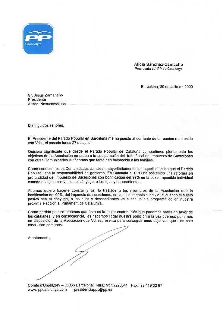 27/08/2009 - Reunió amb Antoni Bosch i Carrera, President del Partit Popular de Barcelona i carta de la senyora Alícia Sánchez-Camacho, Presidenta del PP de Catalunya PPp