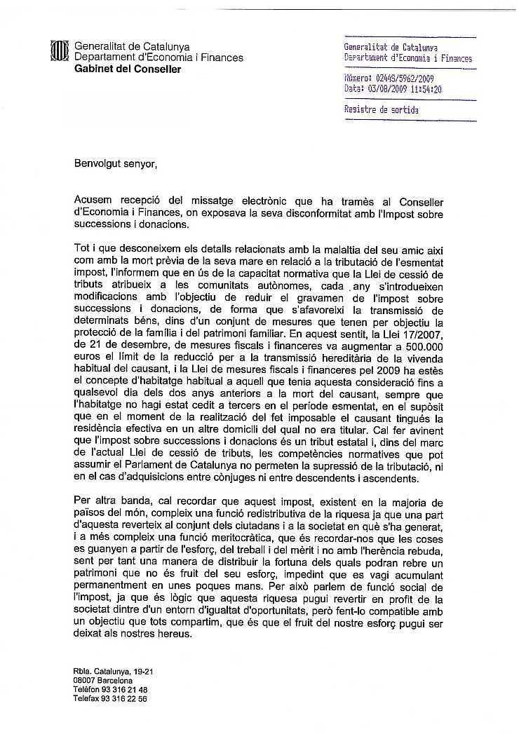 03/08/2009 - Carta del Gabinet del Conseller RespCast1p