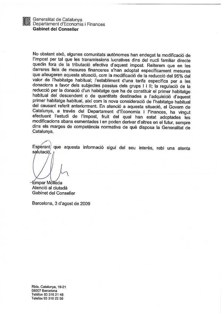 03/08/2009 - Carta del Gabinet del Conseller RespCast2p