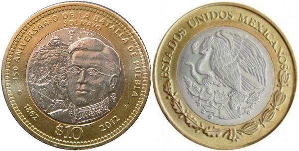 """NOVEDAD.México. $10 2012 """"150 Aniversario Batalla de Puebla"""" 10-pesos-150-aniversario-batalla-de-puebla"""