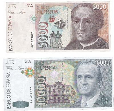 ¿Hasta qué serie se emitieron las 10.000 pesetas de 1985? Numtic3215foto177