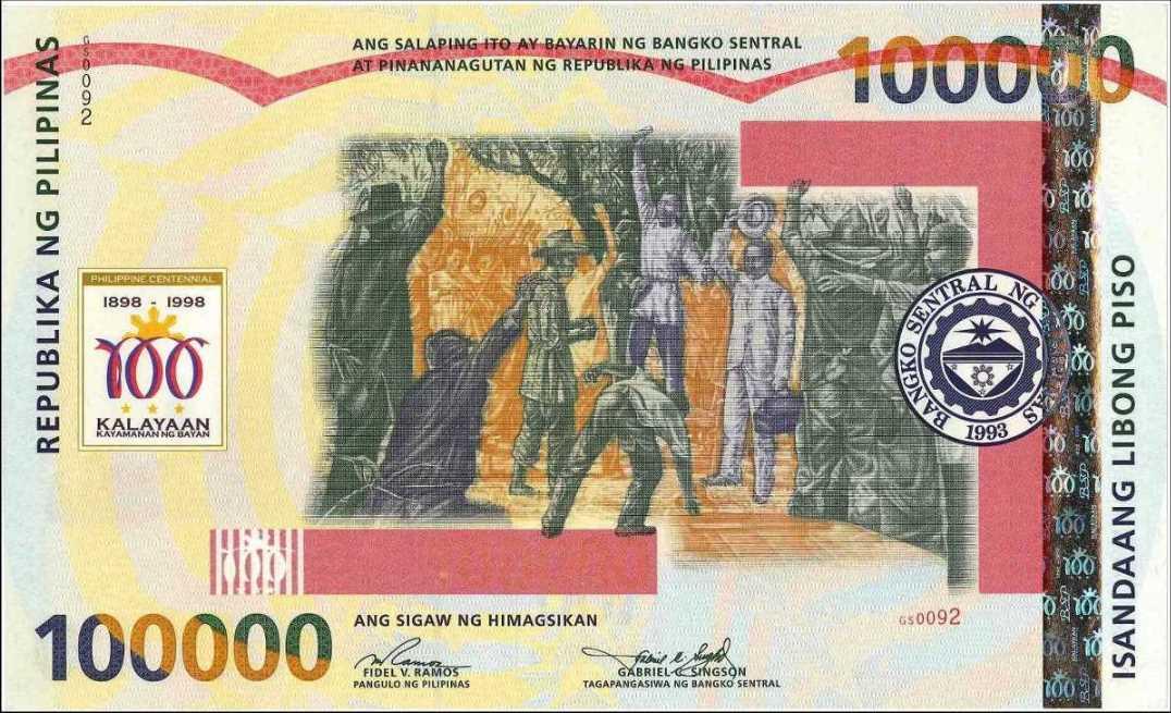 Biggest Philippine Peso PhlP.190100000Pesos18981998No.GS0092RK