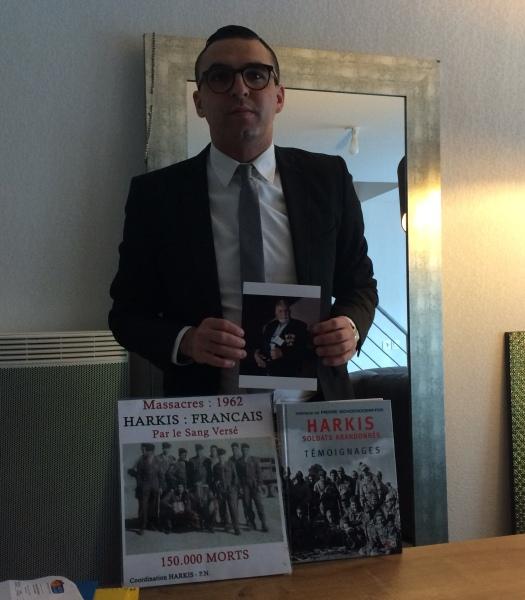 Mathieu Arrag, président de la coordination des harkis du Gard depuis 2011 ici à Santa Cruz devant la stèle du Bachaga Saïd Boualam  IMG_2193-e1453637689240-525x600