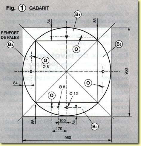 Eolienne à axe vertical, plans de construction Fig1