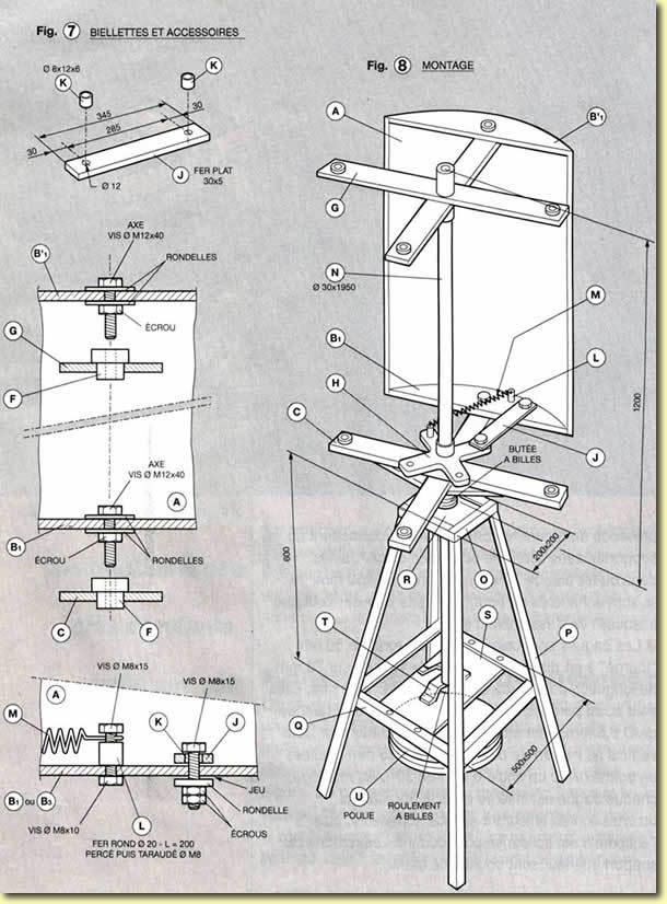 Eolienne à axe vertical, plans de construction Fig7-8