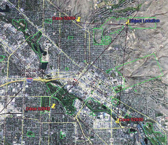 "UFO video over Boise, Idaho is a MUFON ""top case"" Map-Boise-UFO"