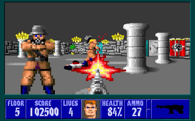 Souvenirs de 386 et 486, en VGA 256 couleurs ! :) Wolfenstein-3d