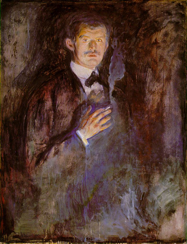 Edvard Munch / Edvard Munk  Edvard_Munch_-_Self-Portrait_with_Burning_Cigarette_(1895)