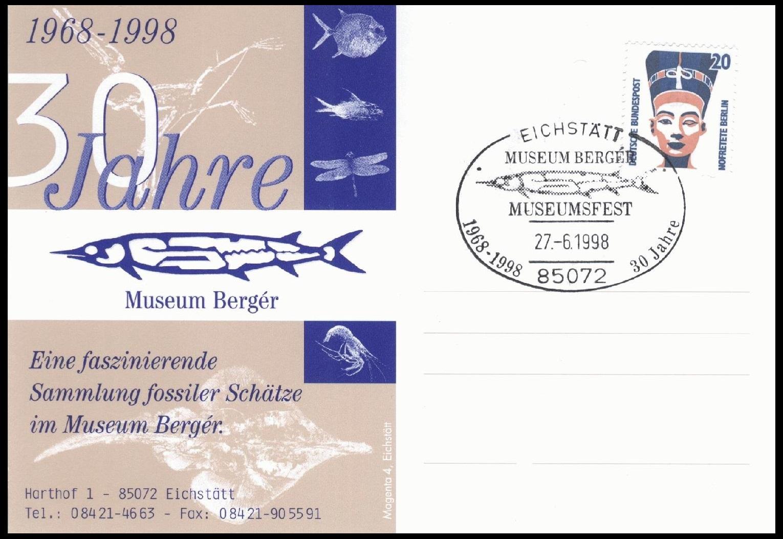 Paleophilatelie: Paläontologie und Philatelie  - Seite 2 Germany_1998_pc1_berger
