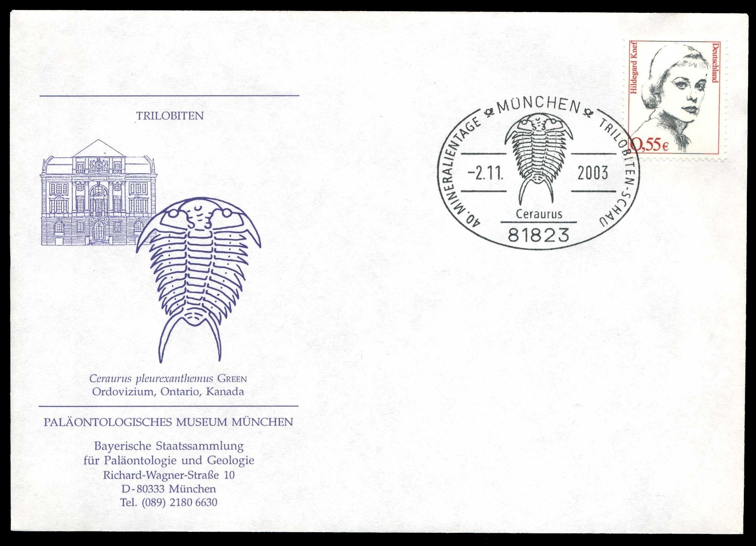 Paleophilatelie: Paläontologie und Philatelie  - Seite 2 Germany_2003_cov_paleo_muc