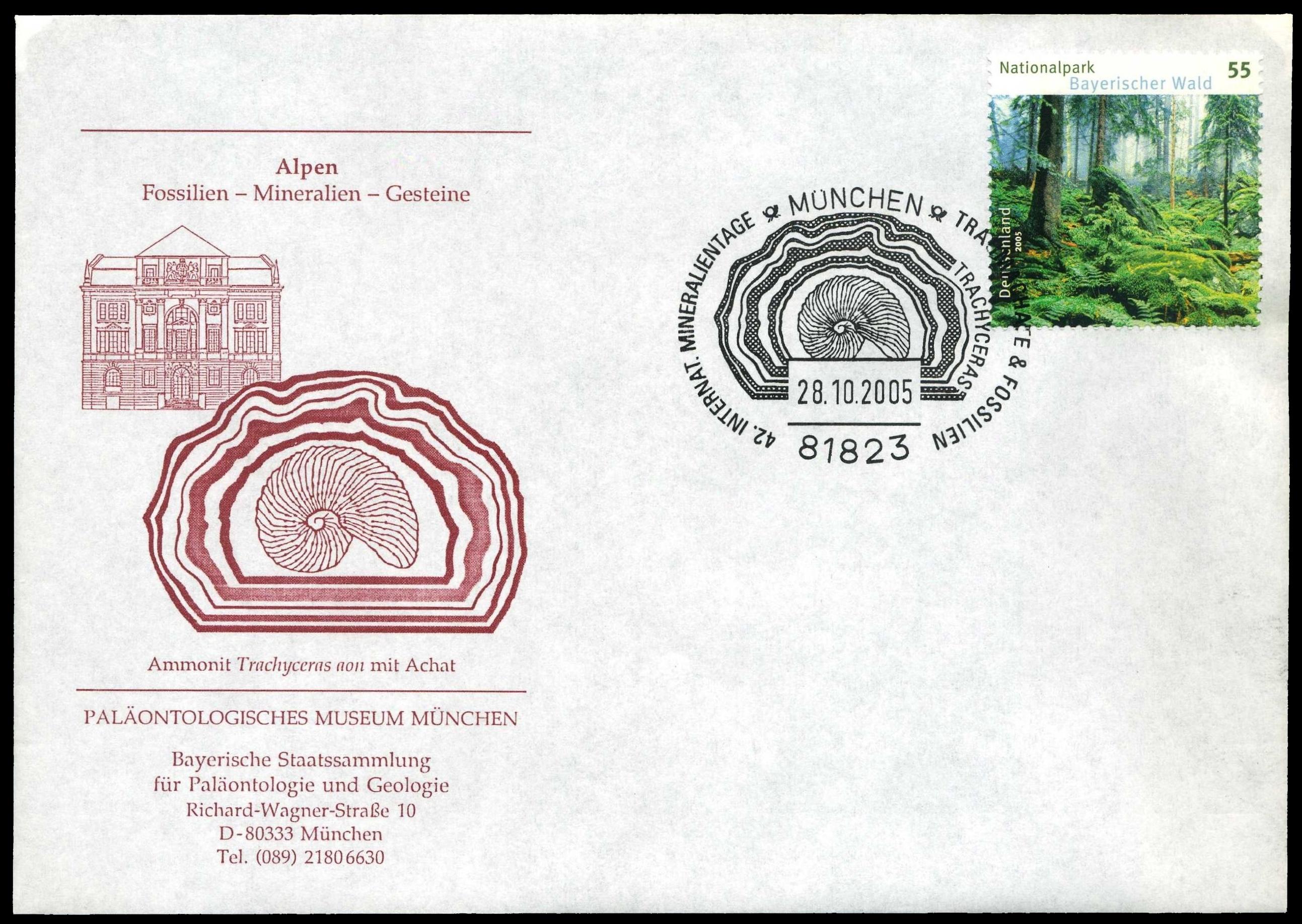 Paleophilatelie: Paläontologie und Philatelie  - Seite 2 Germany_2005_cov_paleo_muc