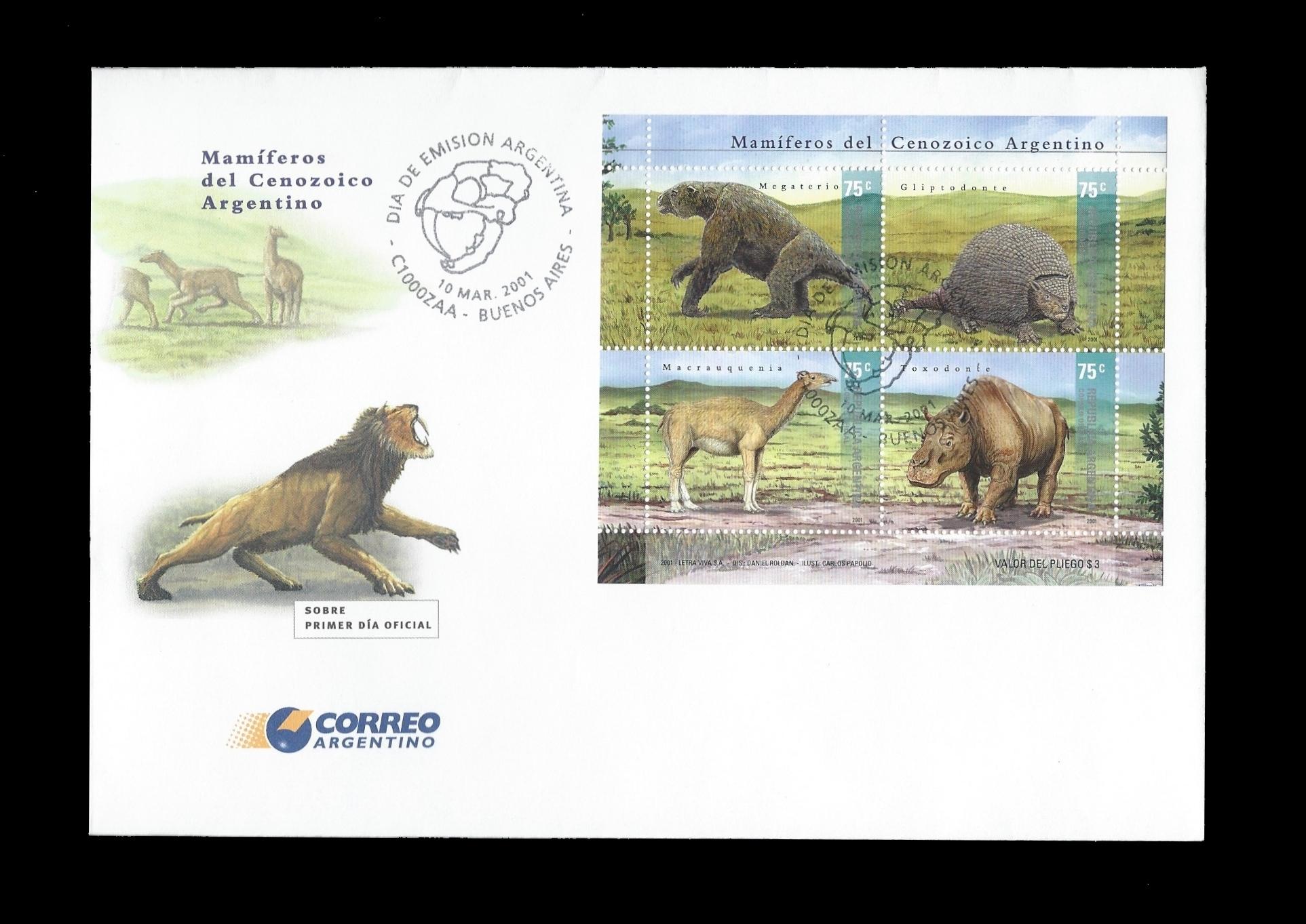 Paleophilatelie: Paläontologie und Philatelie  Argentina_2001_fdc