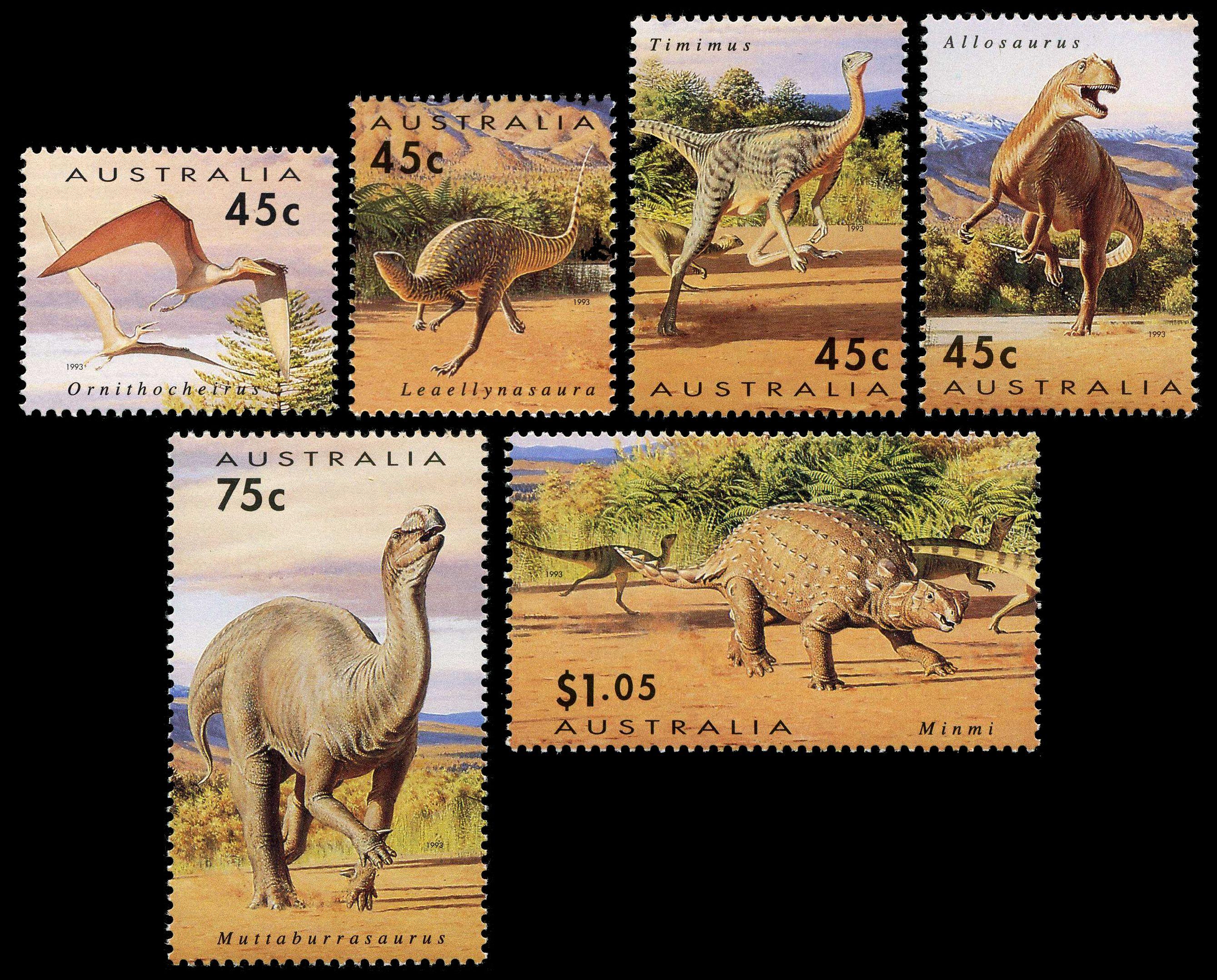 Paleophilatelie: Paläontologie und Philatelie  Australia_1993