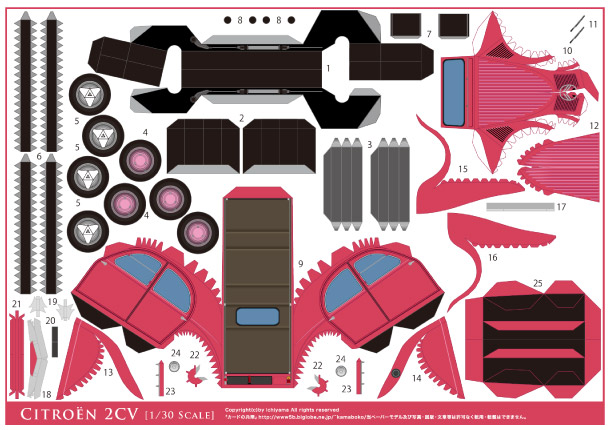 AUTO DI CARTA Blog_Paper_Toy_papercraft_Citroen_2CV_pink_template_preview