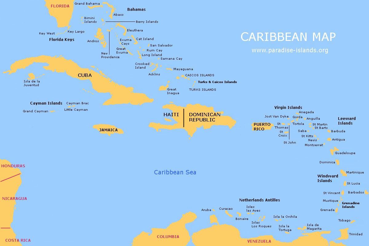 Wout Pou'n Ale Nan Peyi Florida, Nan Peyi Blan CaribbeanMapLarge
