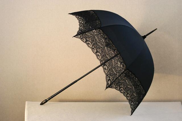 Kisobrani Black-silk-and-lace-umbrella