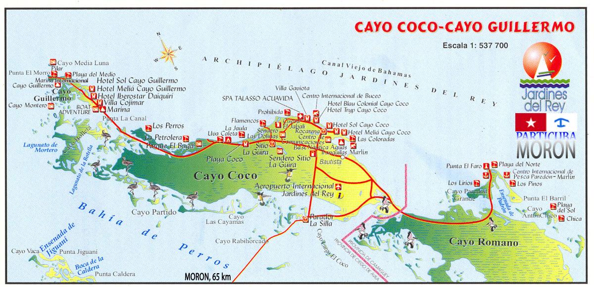 Jardines del Rey(Cayo Coco/Guillermo) , mapa MapaCayGuilCocoRomano