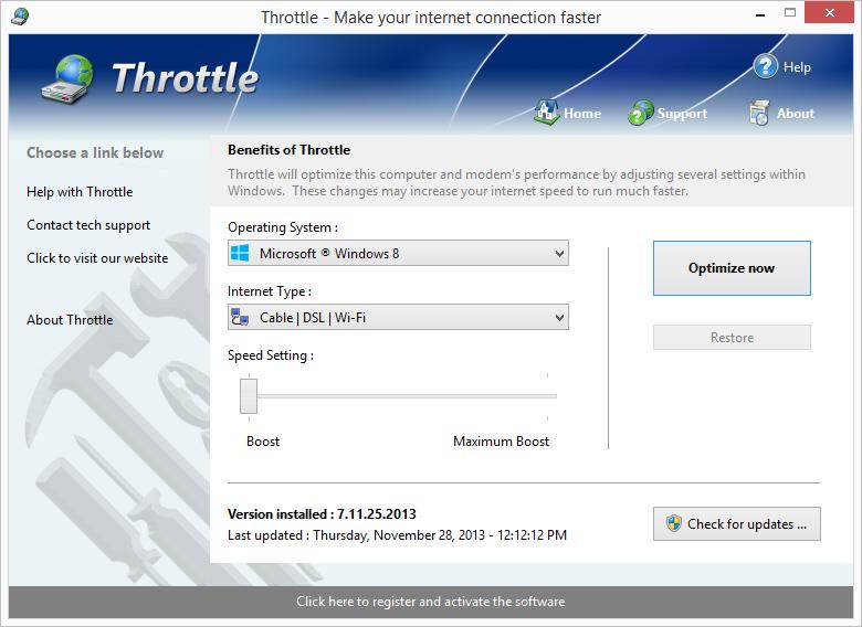 Throttle برنامج لتسريع اتصال الانترنت لحد 200% للمودم والكابل و dsl و isdn والستالايت Lgscreen