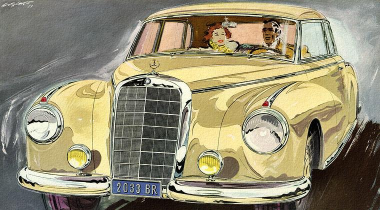 [Artiste] Walter Gotschke Mercedes_1952_300S_yel_02