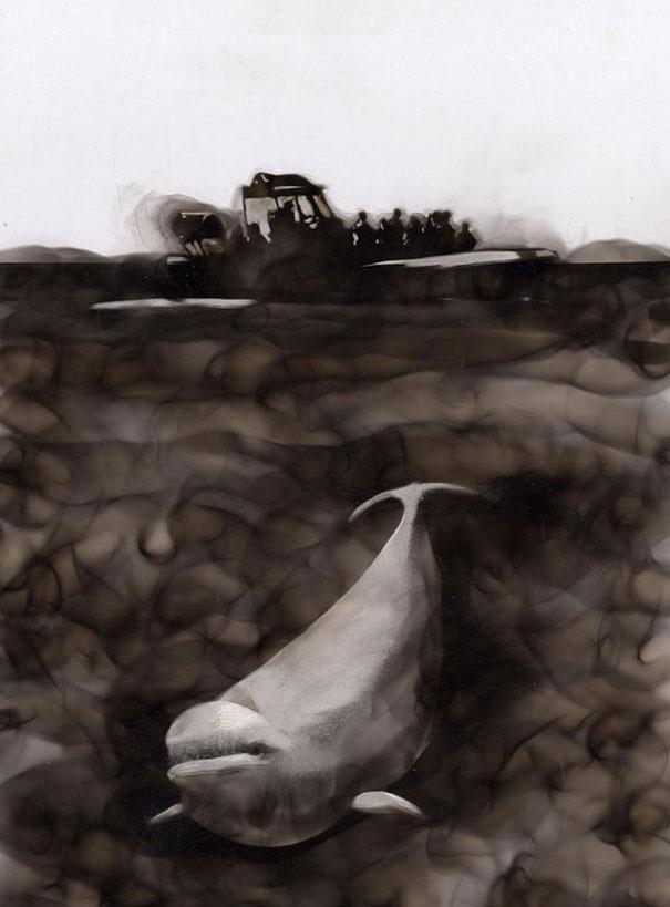 Pintura Con Fuego: Artista Dibuja Con Llamas Y Hollín Source-6PbLArt89r