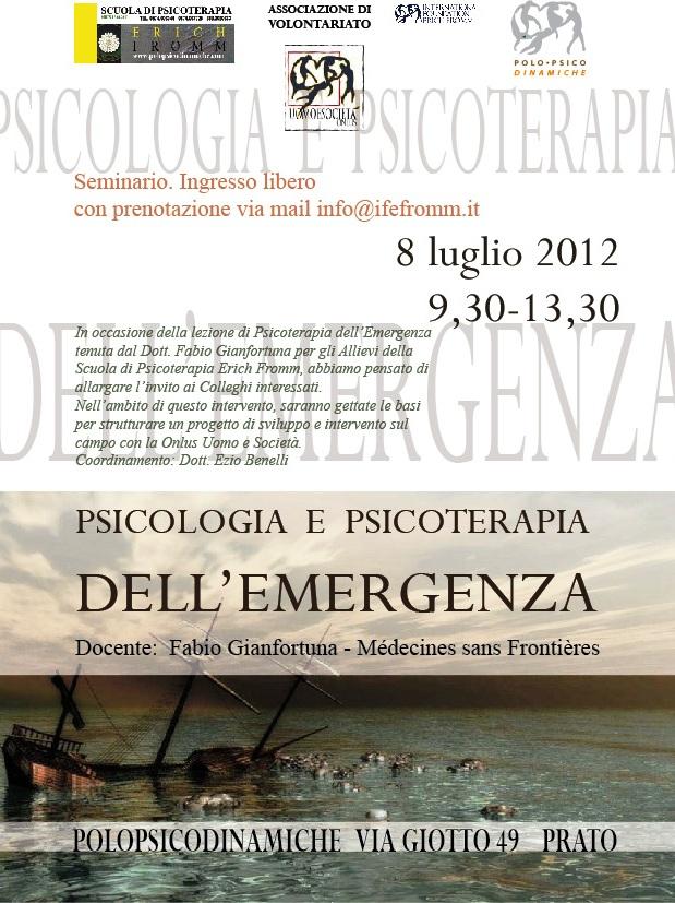 8.07.2012 Seminario di Psicologia e Psicoterapia dell'Emergenza Emergenza