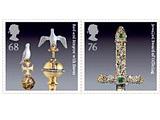 Krone, Schwert und Zepter auf Briefmarken Kronjuwelen_briefmarke
