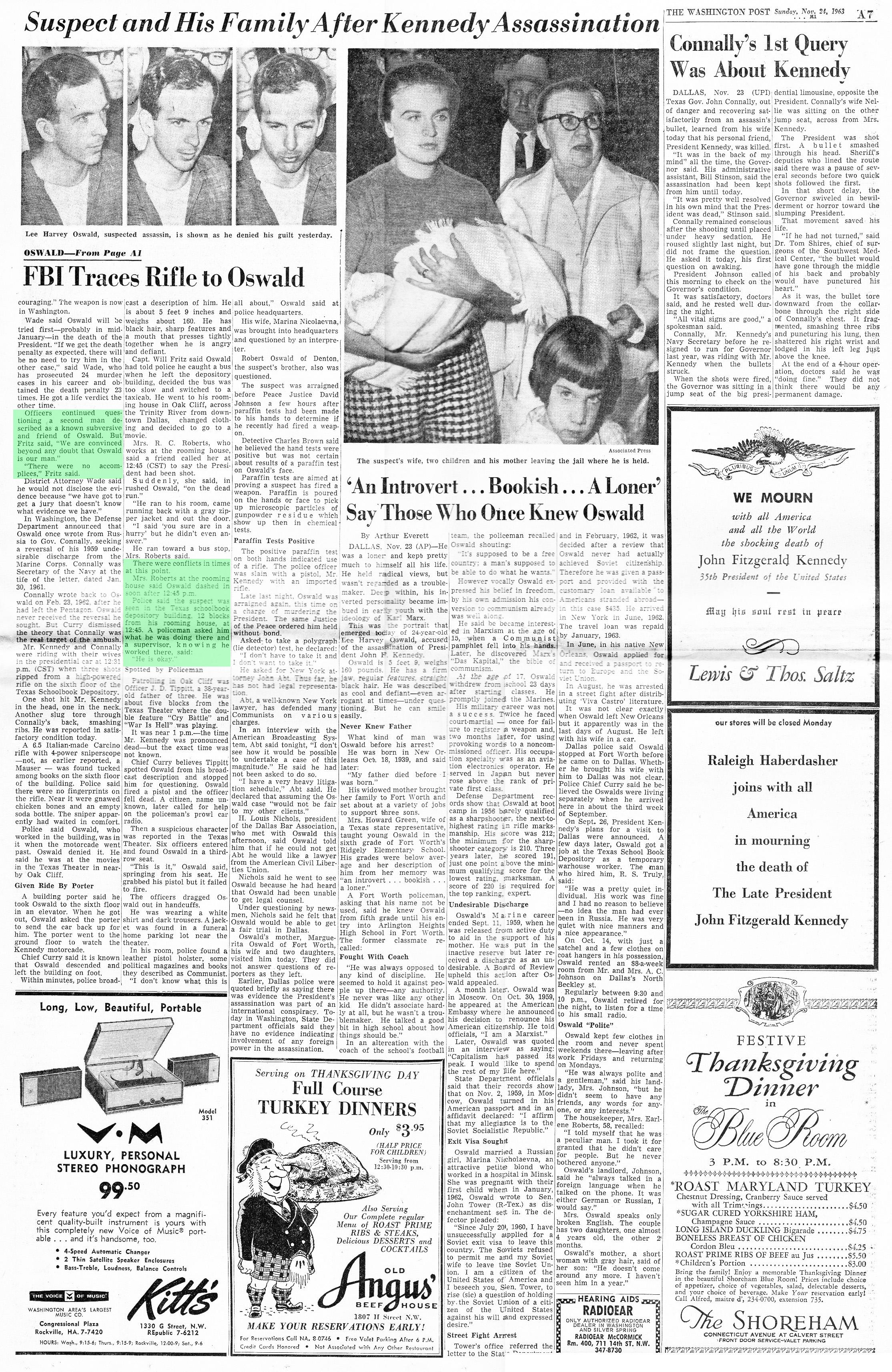 Floor - Anatomy Of A Second Floor Lunchroom Encounter WAshington-Post-Nov-24-1963-page-7-ROKC-Scan-1