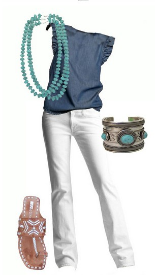 fast-fashion - Страница 5 The-Cool-Denim-Blouse-and-White-Jeans-for-Spring-2014-Outfit-Ideas