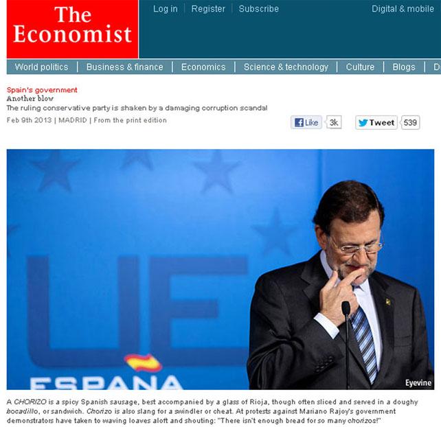 """Portada de The Economist explicando el significado de la palabra CHORIZO, en """"No hay pan para tanto CHORIZO"""", como pie de foto de una cara del corrupto Rajoy Economist-mariano-chorizo"""