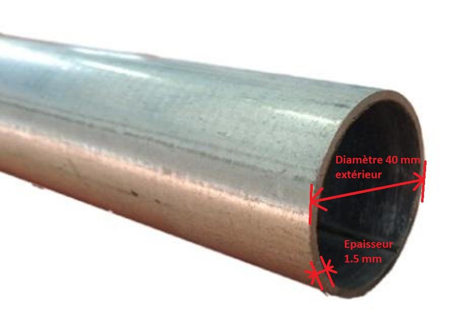 Cherche partie arrière d'un échappement de Trans Sport 3.1L Tube-acier-galvanise-diametre-40-mm-pour-barre-de-charge-detail