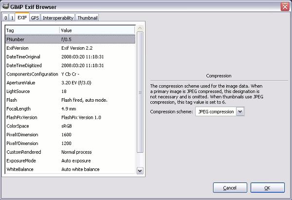 Плагины для GIMP Exif_browser